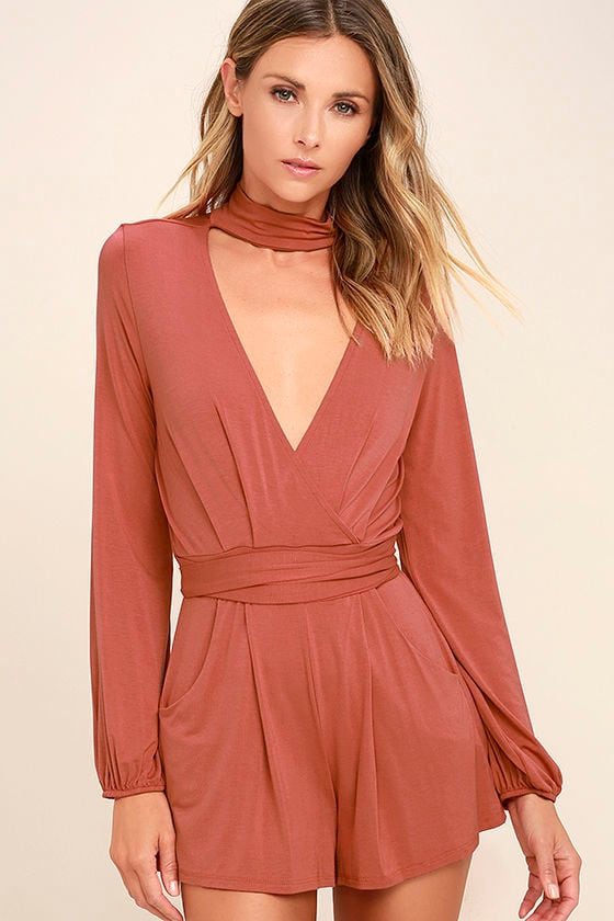 Somewhere Tonight Rusty Rose Long Sleeve Romper 1