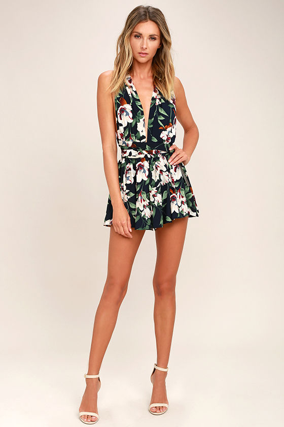 Elated Energy Midnight Blue Tropical Print Convertible Romper 2