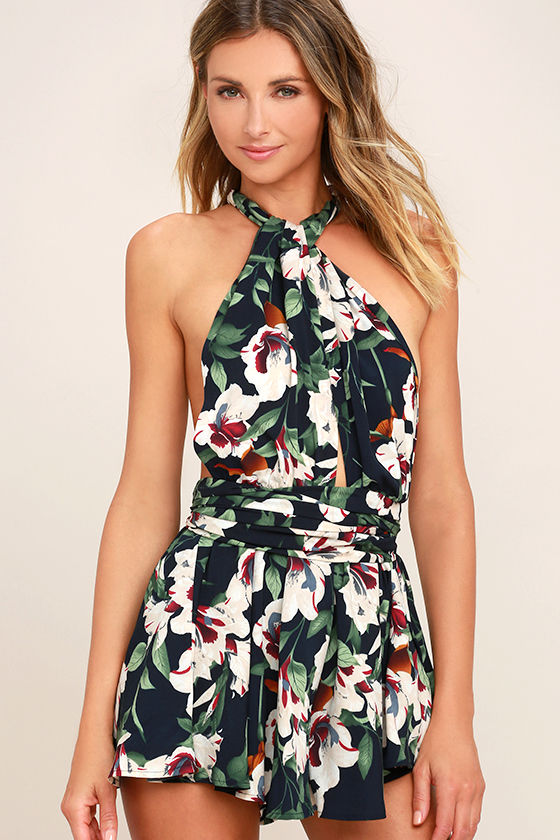 Elated Energy Midnight Blue Tropical Print Convertible Romper 3