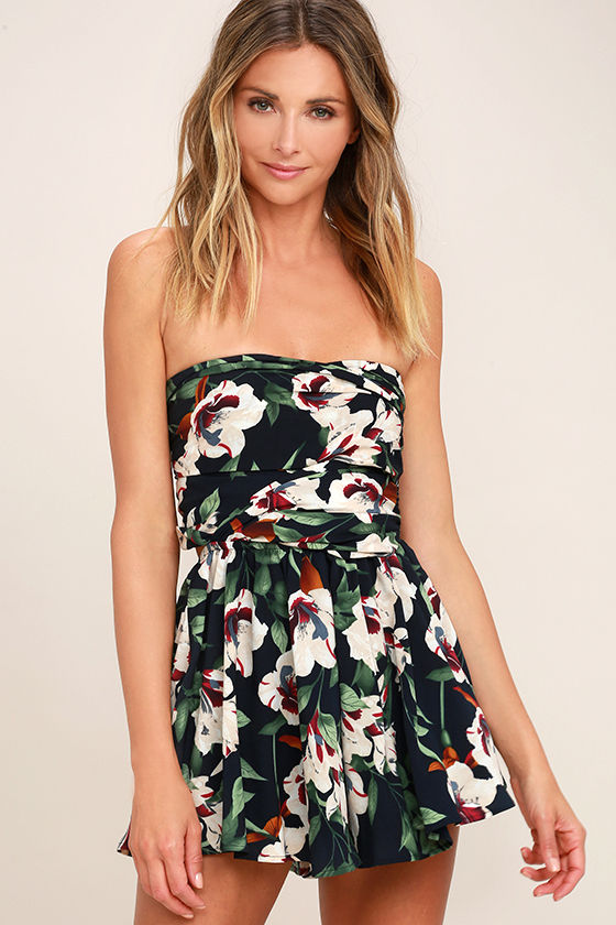 Elated Energy Midnight Blue Tropical Print Convertible Romper 5