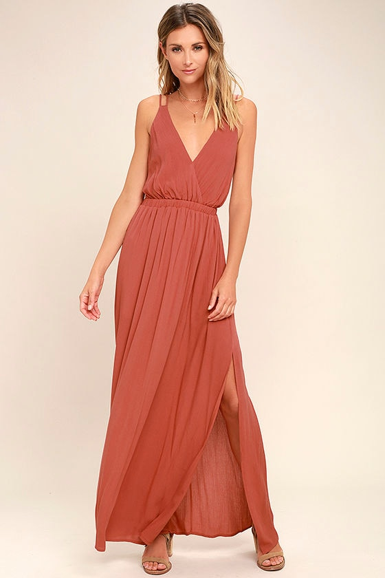 Lost in Paradise Rusty Rose Maxi Dress 1