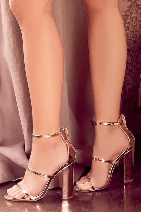 a127a8754d6 Lovely Rose Gold Heels - Ankle Strap Heels - Block Heels -  31.00