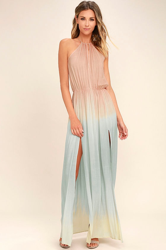 Best Maxi Dresses, Best Long Dresses, Blush Pink Dip-Dye Maxi Dress
