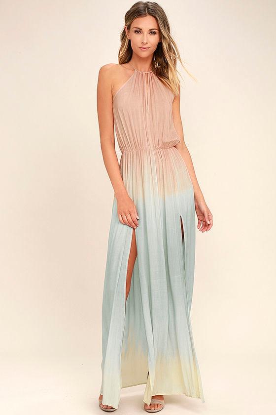 Cool Blush Pink Dress - Maxi Dress - Dip-Dye Dress - $66.00