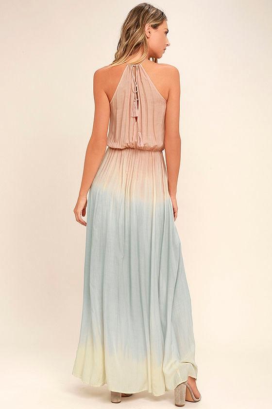 Sweet Sunset Blush Pink Dip-Dye Maxi Dress 3