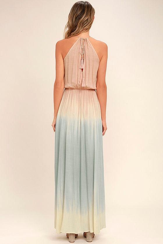 Sweet Sunset Blush Pink Dip-Dye Maxi Dress 4