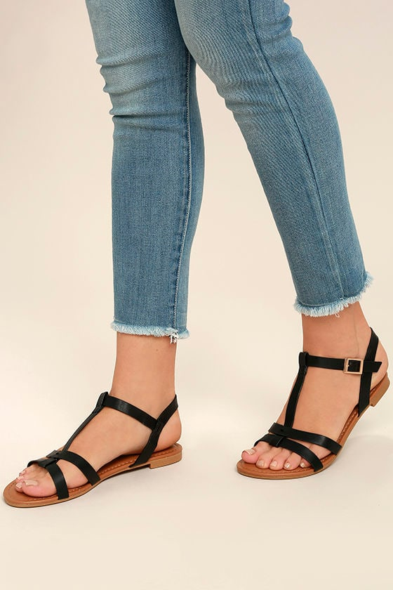 97ea76720 Cute Black Flat Sandals - Strappy Black Sandals - Vegan Leather Sandals -   17.00