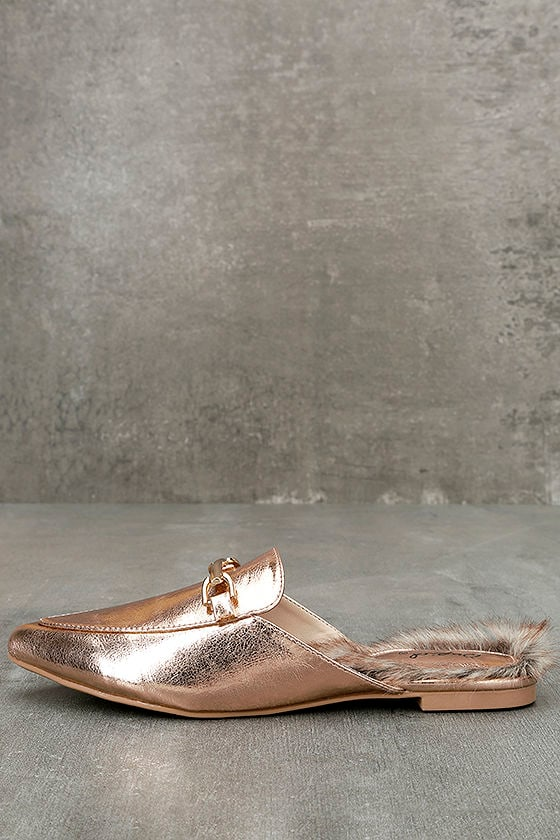 Antonia Rose Gold Faux Fur Loafer Slides 1
