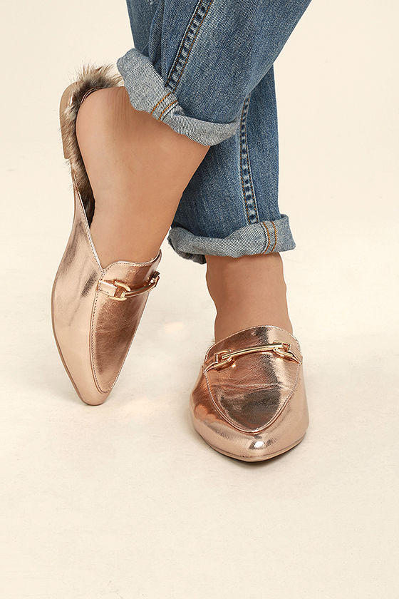 5e87e138cf2 Chic Rose Gold Loafer Slides - Faux Fur Loafers - Slip-On Loafers ...
