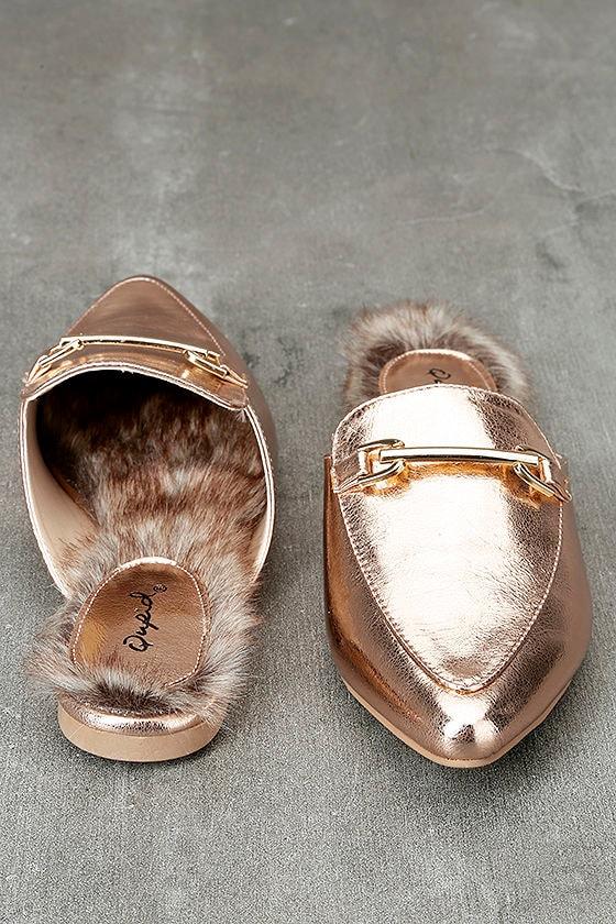 Antonia Rose Gold Faux Fur Loafer Slides 3