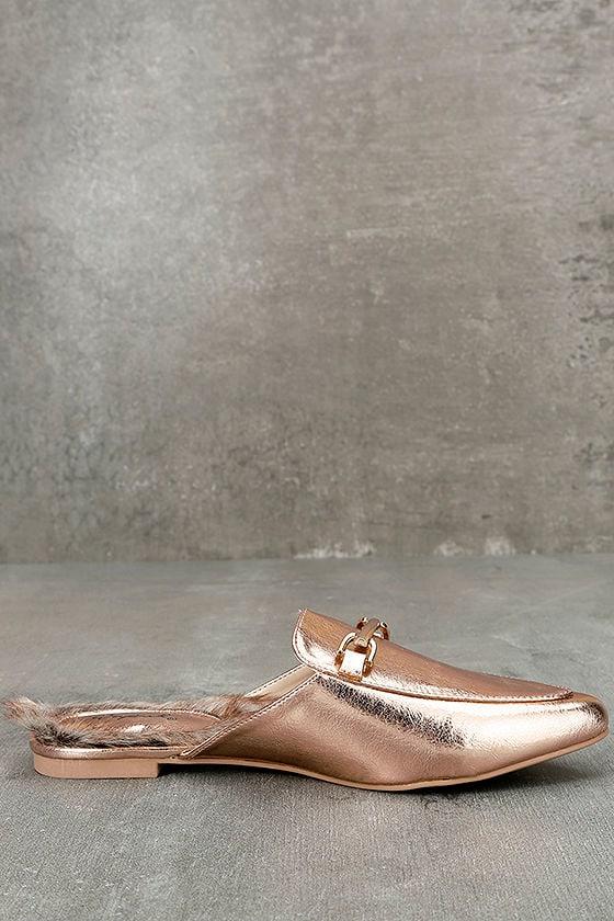 Antonia Rose Gold Faux Fur Loafer Slides 4