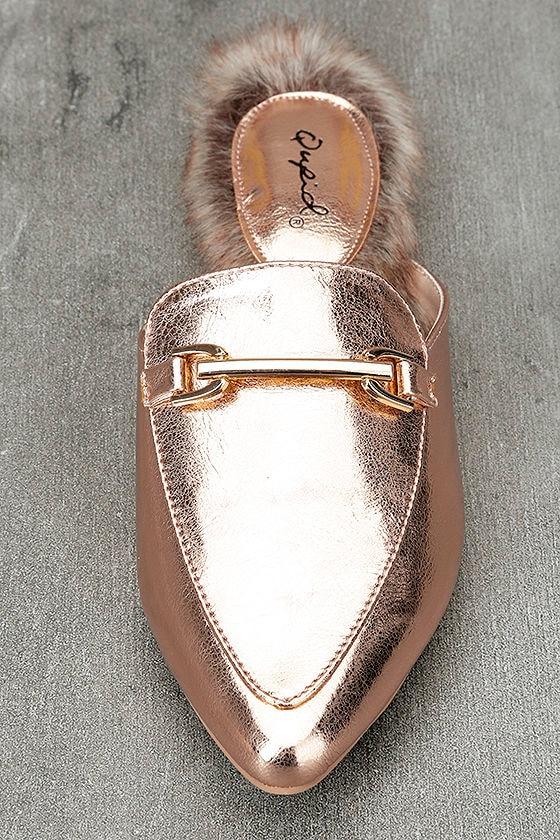 Antonia Rose Gold Faux Fur Loafer Slides 5
