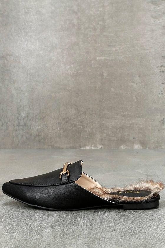 Antonia Black Faux Fur Loafer Slides 1