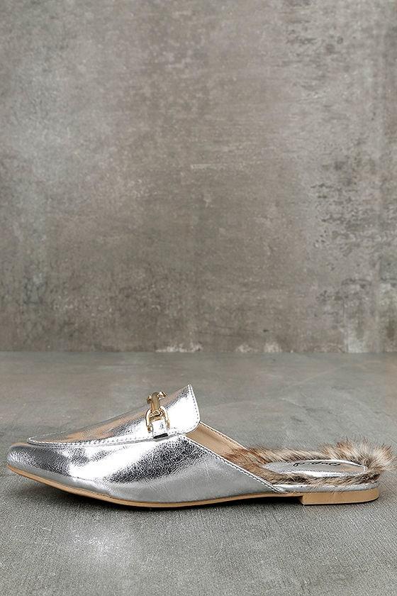 Antonia Silver Faux Fur Loafer Slides 2