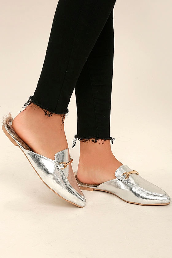 130fc9cb2d4 Chic Silver Loafer Slides - Faux Fur Loafers - Slip-On Loafers -  22.00