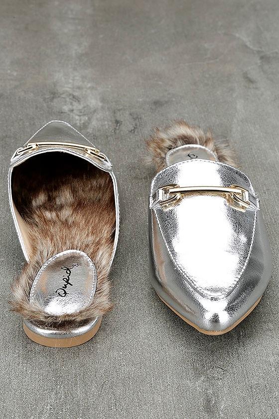 Antonia Silver Faux Fur Loafer Slides 3