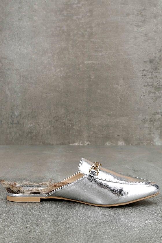 Antonia Silver Faux Fur Loafer Slides 4
