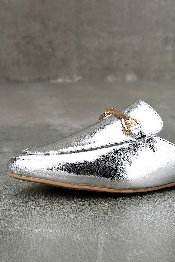 Antonia Silver Faux Fur Loafer Slides 5