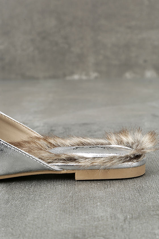 Antonia Silver Faux Fur Loafer Slides 6