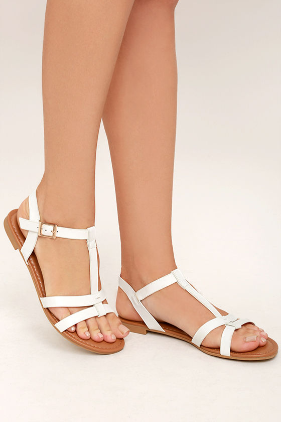 Cute White Flat Sandals - Strappy White Sandals - Vegan Leather ...