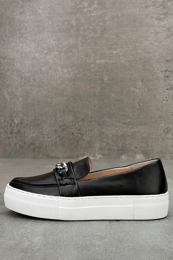 J Slides Piper Black Leather Flatform Loafers 1