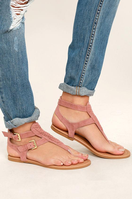 ec898c206 Cute Mauve Sandals - Vegan Suede Sandals - Mauve Thong Sandals -  19.00