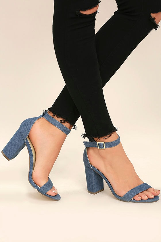 Morela Denim Ankle Strap Heels 1