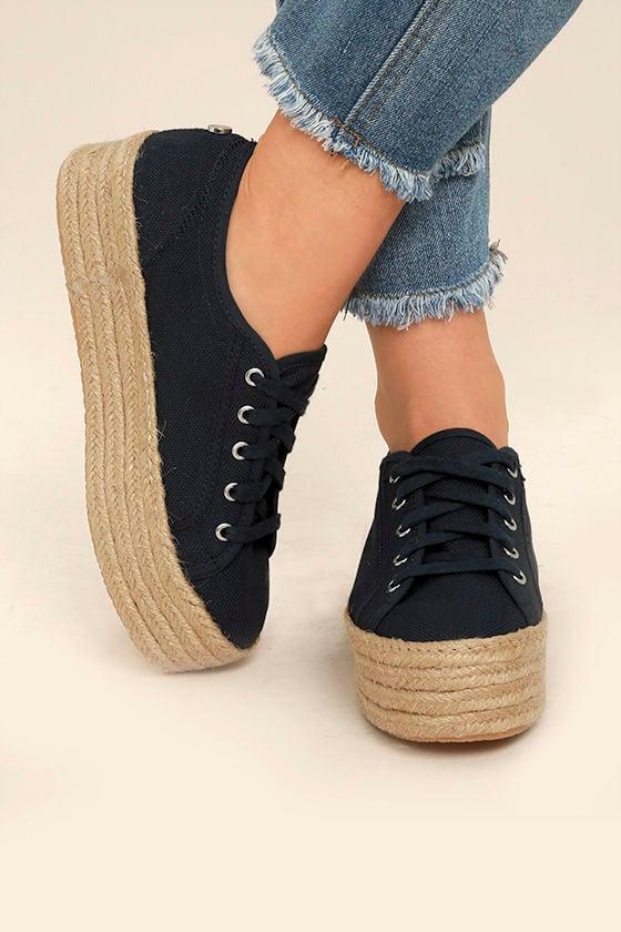 7cfd66b7618 Steve Madden Hampton Sneakers - Black Platform Sneakers - Espadrille ...
