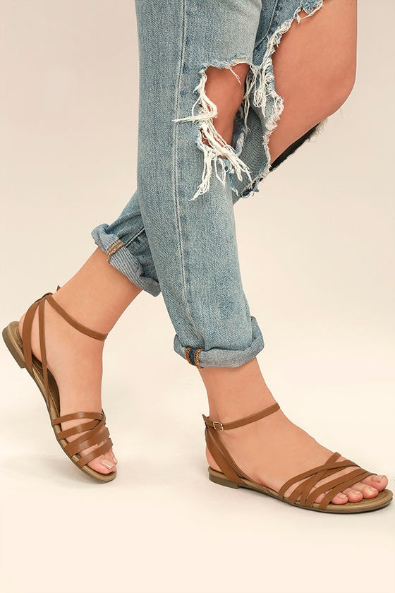 Cute Tan Ankle Strap Heels - Tan Flat Sandals - Strappy Tan Sandals -  19.00