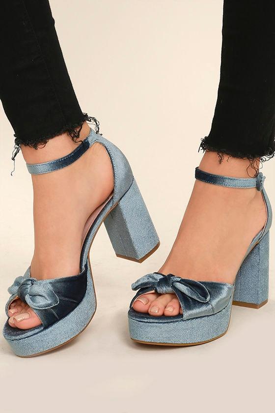 d1278a130c4 Chinese Laundry Tina Heels - Platform Heels - Blue Velvet Heels -  80.00