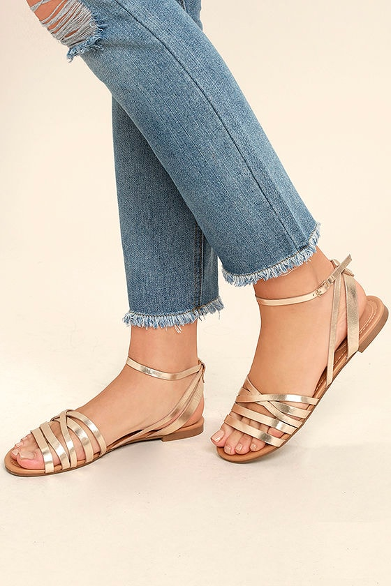 05529cdc5c Cute Champagne Ankle Strap Heels - Gold Flat Sandals - Strappy Tan ...