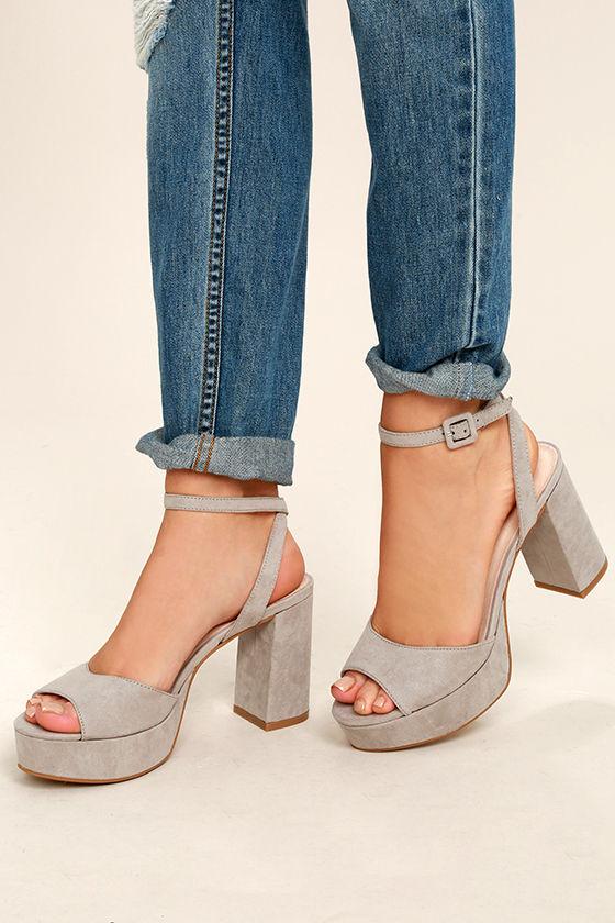 037ad8c6b67 Chinese Laundry Theresa Smoke Grey - Grey Heels - Pink Platform ...