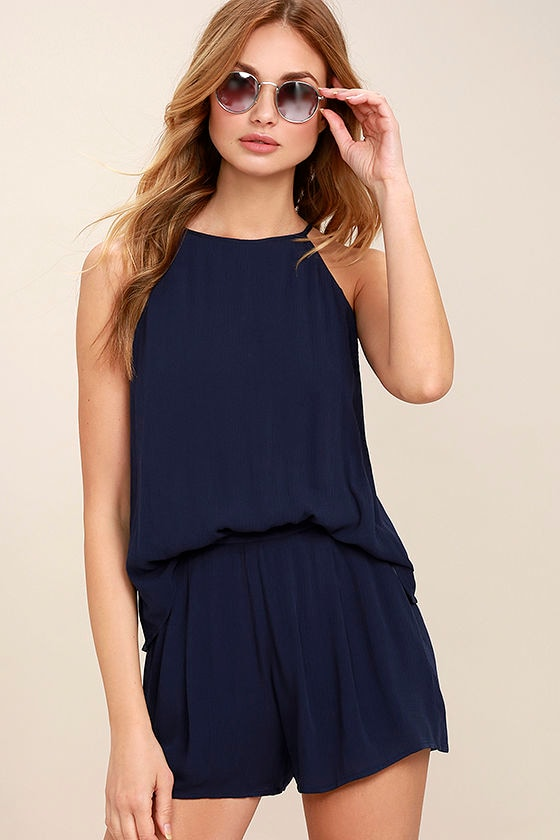 Olive & Oak Canyon Companion Navy Blue Romper 1