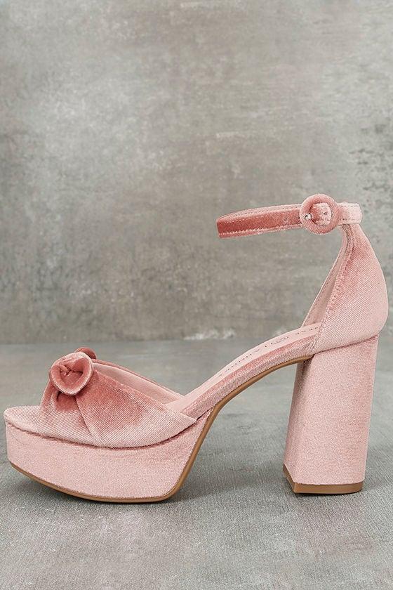 5adc1ec6994 Chinese Laundry Tina Heels - Platform Heels - Pink Velvet Heels -  80.00
