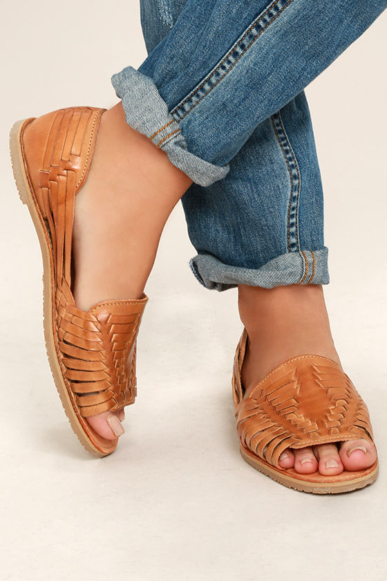 12bdeb8712d Sbicca Jared Flats - Tan Huarache Flats - Leather Sandals - Leather ...