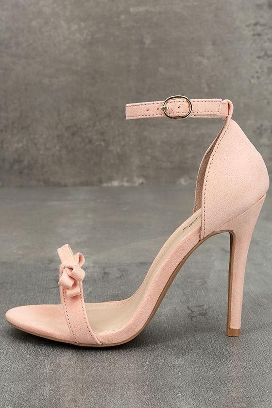 Babette Blush Suede Ankle Strap Heels 1