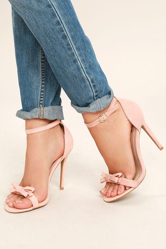 Babette Blush Suede Ankle Strap Heels 2