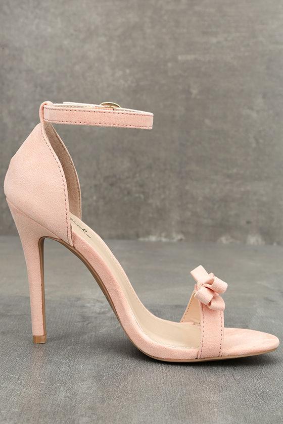 Babette Blush Suede Ankle Strap Heels 4