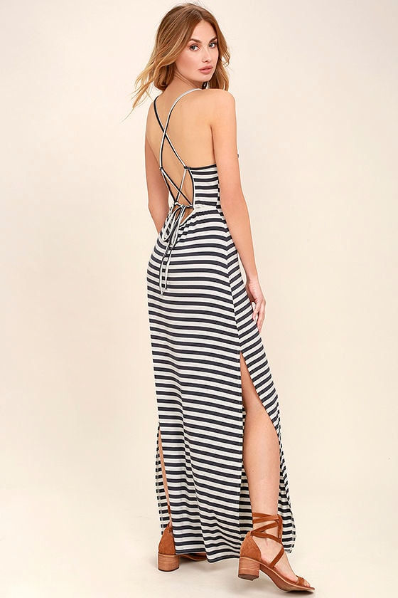 Navy blue striped maxi dress