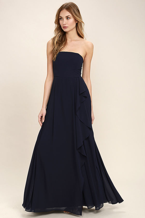 Elegant Navy Blue Dress - Strapless Maxi Dress - Strapless Dress ...