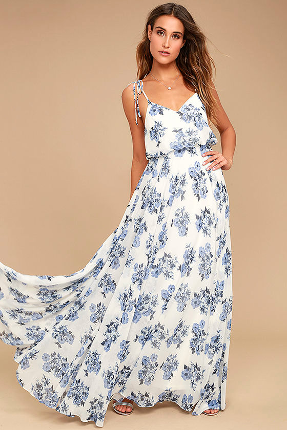 3e1f2487539 Stunning Blue and White Maxi Dress - Floral Print Maxi Dress - Print Chiffon  Dress