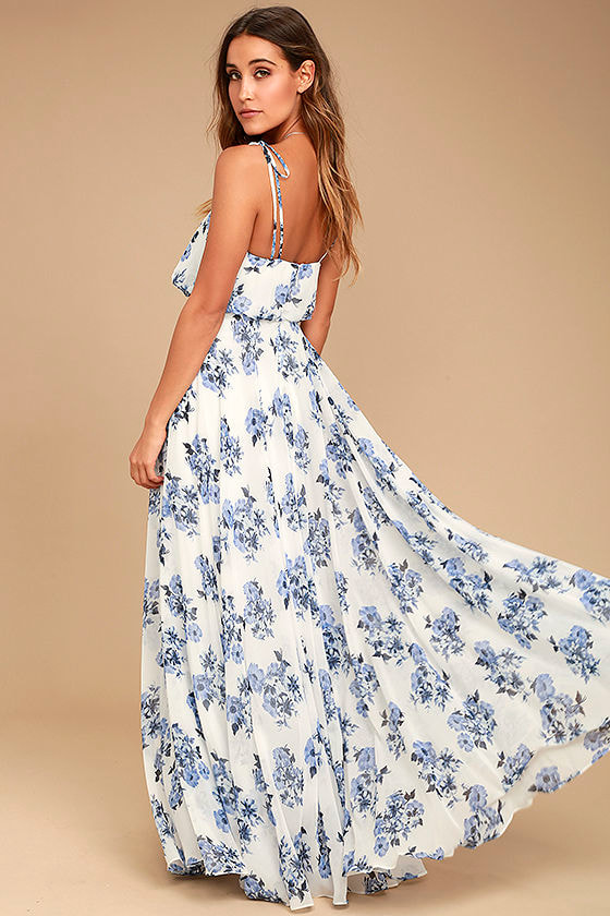 Pollen for You Blue and White Floral Print Maxi Dress 3
