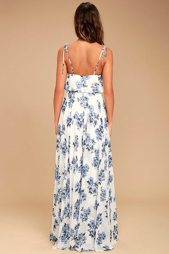 Pollen for You Blue and White Floral Print Maxi Dress 4