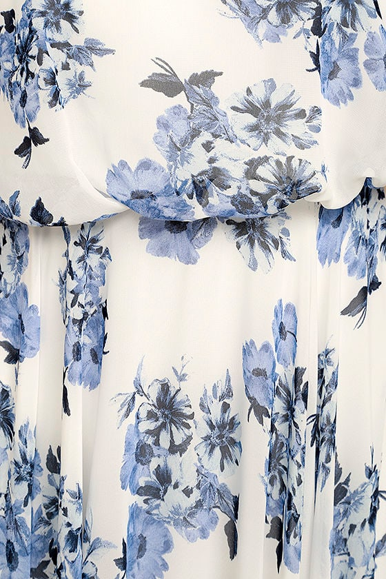 Pollen for You Blue and White Floral Print Maxi Dress 6