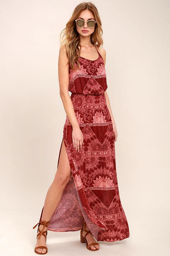 O'Neill Kravitz Wine Red Print Maxi Dress 1