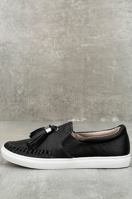 J Slides Cheyenne Black Leather Slip-On Sneakers 1