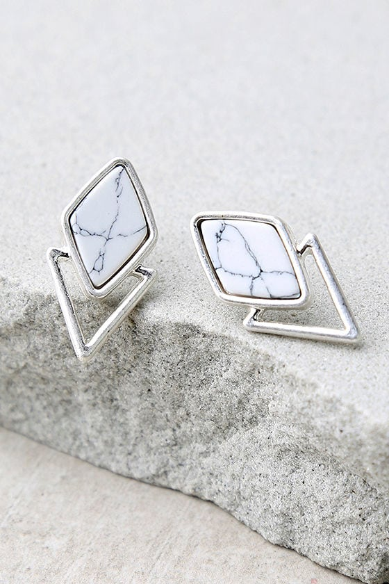 Endless Bliss Silver and White Earrings 1