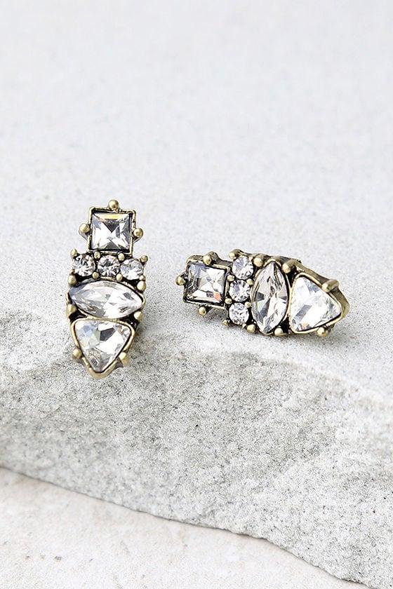 My Time Gold Rhinestone Earrings 2
