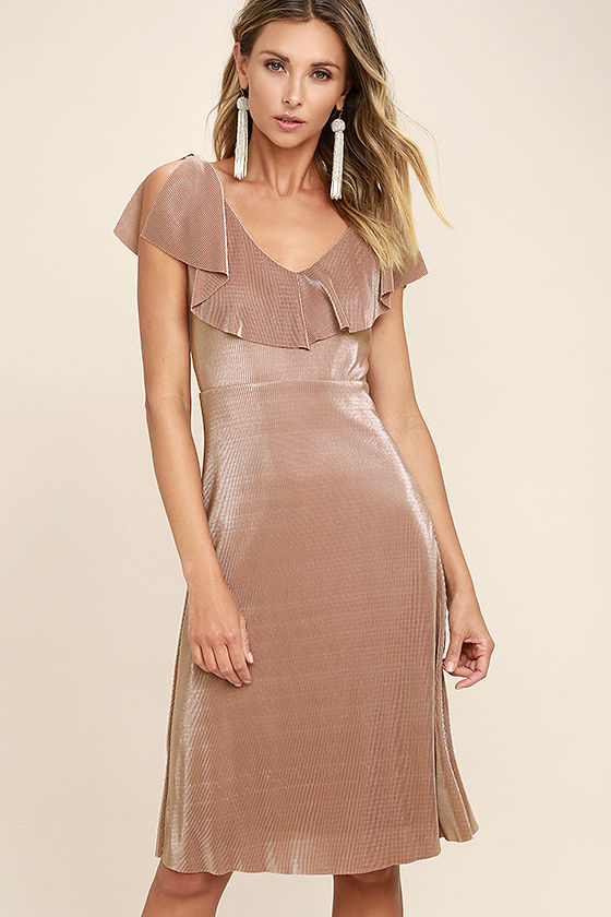 90fc565d169b54 Stunning Blush Dress - Midi Dress - Pleated Dress -  56.00