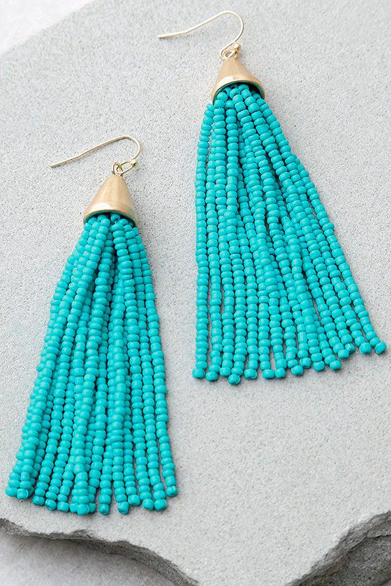 18eb7f63b Cool Gold and Turquoise Earrings - Tassel Earrings - Beaded Earrings ...